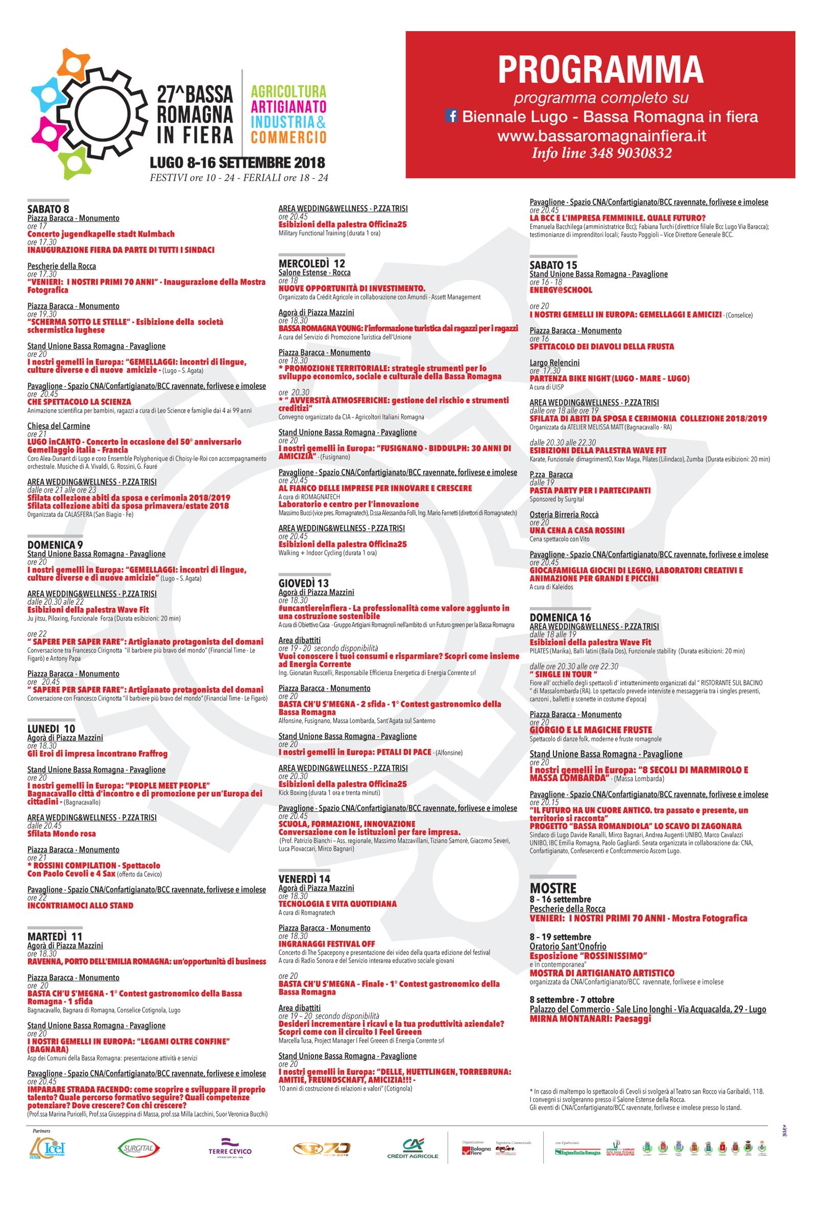 Manifesto con programma FIERA BIENNALE LUGO 2018